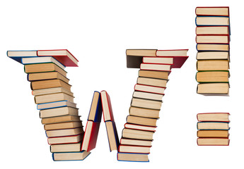 Alphabet made out of books, letter W and exclamation mark