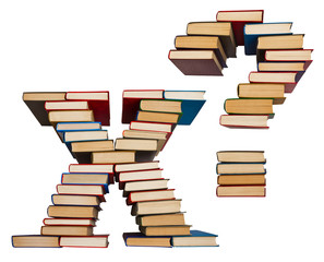 Alphabet made out of books, letters X and question mark