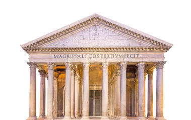 Pantheon view. Rome, Italy, isolated