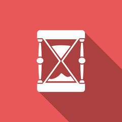hourglass icon with long shadow