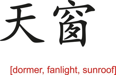 Chinese Sign for dormer, fanlight, sunroof