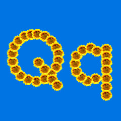 Sunflower letter Q