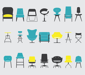 Set of Furniture and Chair Icon in Flat Design, Minimal Style