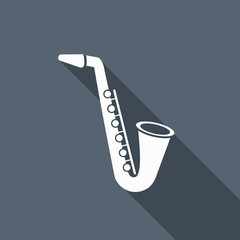 saxophone icon with long shadow