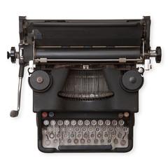 antica macchina da scrivere in fondo bianco