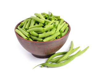 Green bean in the bowl isolated