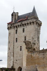 Castle of Chinon - clock tower. Loire Valley.