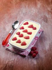 tiramisu with raspberry