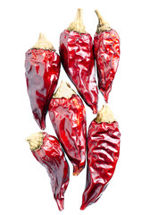 Dried chili peppers on a white background