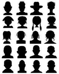 Set of black silhouettes of heads, vector