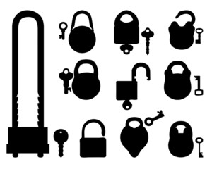 Black silhouettes of padlocks and keys, vector