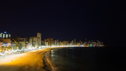 Benidorm city beach at night.