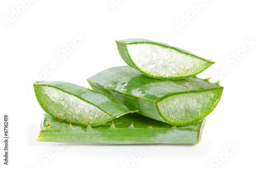 cut aloe leaves on white background