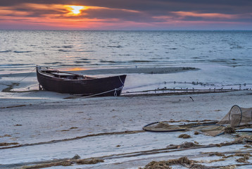 Old fishing boat at the early morning