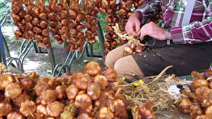 Traditional craft of weaving smoked garlic