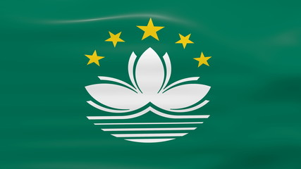 Waving Macau Flag, ready for seamless loop.