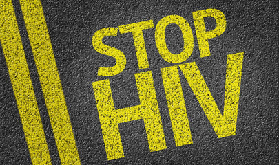 Stop HIV written on the road