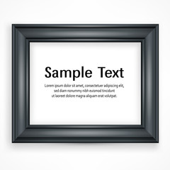 Wooden black frame for picture on white background, vector