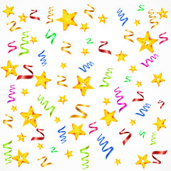 Party decorations background with stars and serpentine, vector