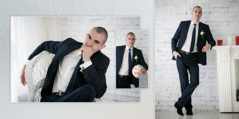 Collage - groom standing near fireplace