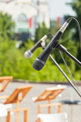 Microphone on the street scene closeup