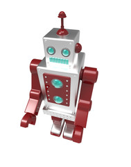 retro robot on white background with clipping mask