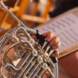 French horn in the hands of a musician closeup - 67163811