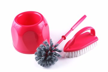 Cleaning brush and to toilets, on a white background