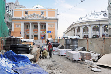 Construction works in the center of Moscow near Gostiny Dvor