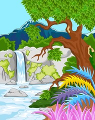 Illustration of beautiful waterfall