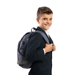 cheerful schoolboy with schoolbags