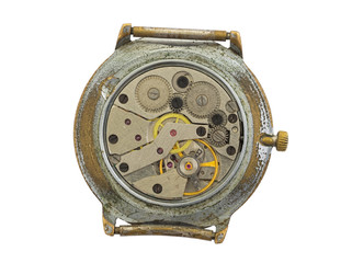 Very old watch isolated on a white background