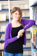 Female student in a library