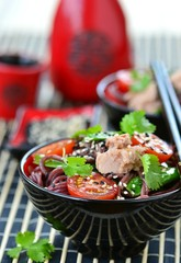salad from rice noodles with a tuna