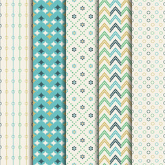 5 Soft different vector seamless patterns . Endless texture for