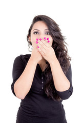 girl covering her mouth with hands
