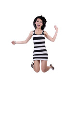 Asian American Woman Jumping Black White Dress