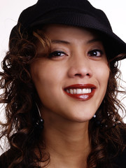 Smiling Filipino Hispanic Woman Portrait With Hat