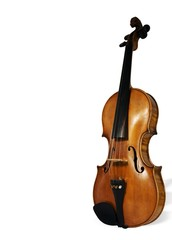 violin isolated with clipping path. With place for text