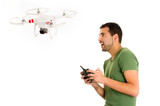 young man with quadcopter drone poster