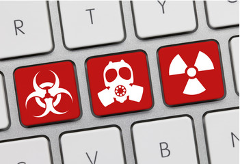 Biohazard, Gas mask and nuclear. Keyboard