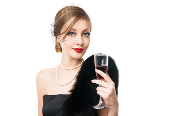 Beautiful woman with glass red wine. Retro style
