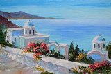 Fototapety oil painting - Santorini, house near the sea