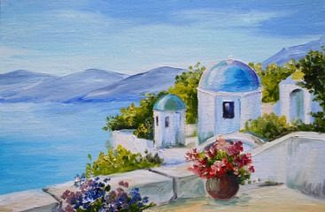 oil painting - Santorini, house near the sea