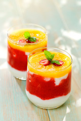 Fruit mousse with yogurt. Delicious breakfast
