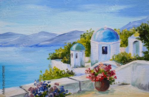 oil painting - Santorini, house near the sea - 67166841