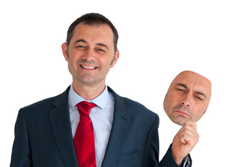 businessman concealing depression with a happy mask