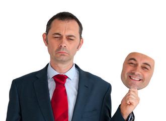 businessman concealing depression