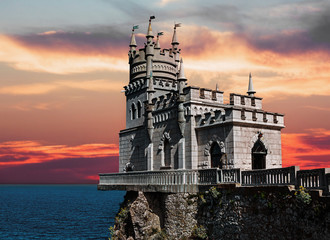 View of the Swallow's Nest in Crimea at sunset