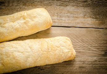 Two baguettes of ciabatta